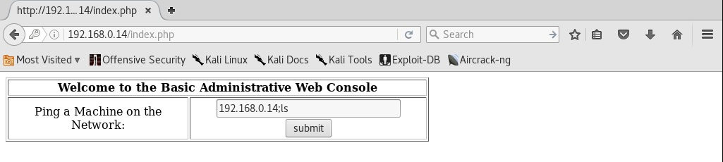 Kioptrix_webpage_command_injection_Level2