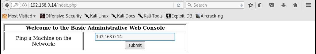 Kioptrix_webpage_ping_Level2