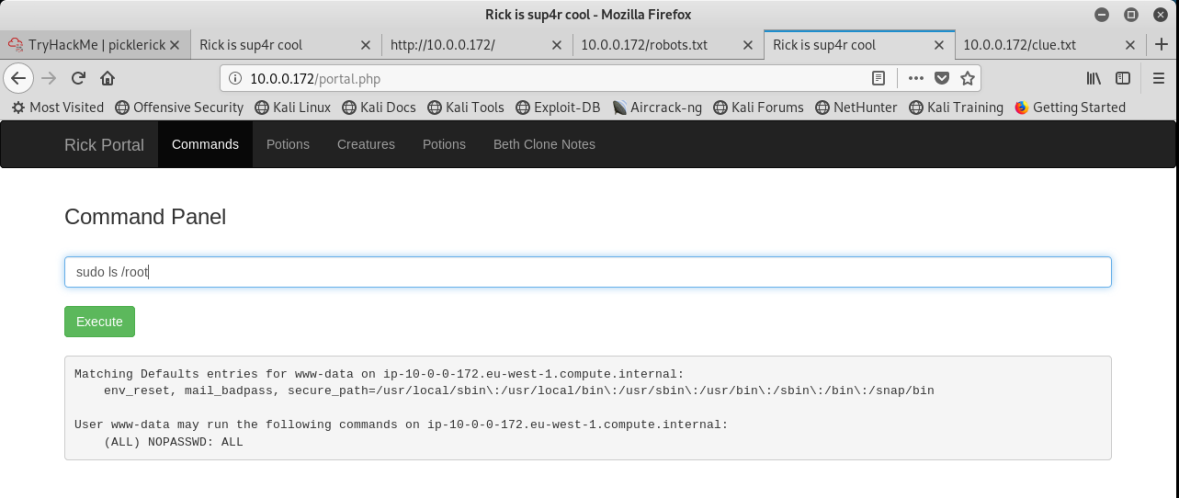 pickle_sudo_listing_as_root